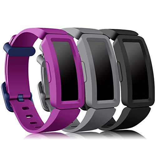 Onedream Compatible con Fitbit Ace 2 Correa Niños, Suave Silicona de Ajustable Deportiva Pulsera de Reemplazo Compatible para Fitbit Inspire HR (3-Negro/Gris/Púrpura)