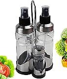 Aceitera y Vinagrera Spray Pack 4 unidades Con Salero y Pimentero | Aceitera Spray Gadgets Cocina Pulverizador Cristal Dosificador Spray Para Cocinar…