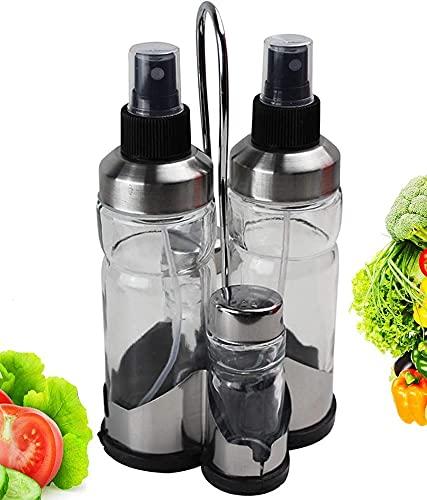 Aceitera y Vinagrera Spray Pack 4 unidades Con Salero y Pimentero   Aceitera Spray Gadgets Cocina Pulverizador Cristal Dosificador Spray Para Cocinar…