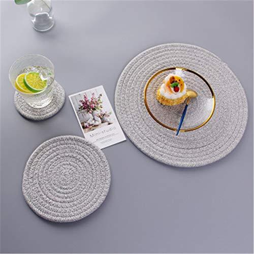 GUOCAO Coaster Table Mat Isolierung Schüssel Pad weicher handgefertigte ovale runder Entwurf Baumwolle Antiverbrühschutz Platzdeckchen Beleg Küchenzubehör Matte (Color : Violet, Size : Round)