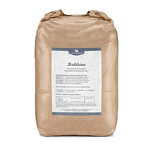 Krauterie Baldrian-Wurzel geschnitten in sehr hochwertiger Qualität, frei von jeglichen Zusätzen, als Tee oder für Pferde und Hunde (Valeriana officinale) – 2000 g