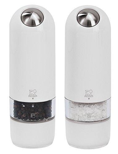 Peugeot ALASKA Duo pepermolen elektrisch, polycarbonaat, wit, 21,3 x 7,7 x 17 cm
