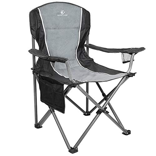 ALPHA CAMP Oversized Outdoors Folding Camping Chair Heavy Duty Padded Arm Chair with Cup Holder and Storage Bag, 350 LBS Weight Capacity