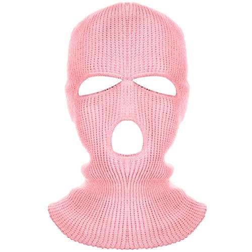 Kacoco Pasamontañas de 3 agujeros de punto, para adultos, térmico, estilo militar, color rosa claro