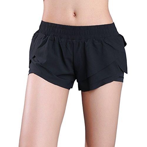 OULII Short de sport pour femme, confortable pour l'exécution du fitness Gym Yoga Training Taille S (Noir)