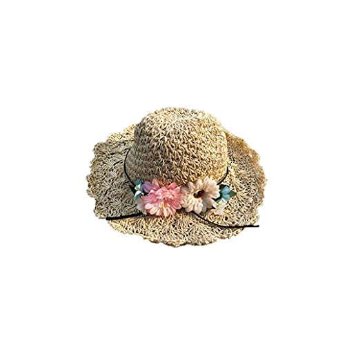 sevennine Sombrero de Paja de Verano Brenco de ala de ala Playa Sombreros Sombreros de Paja Hechos a Mano Hombrero de protección Solar para Mujer Girls M Beige Sombrilla Set