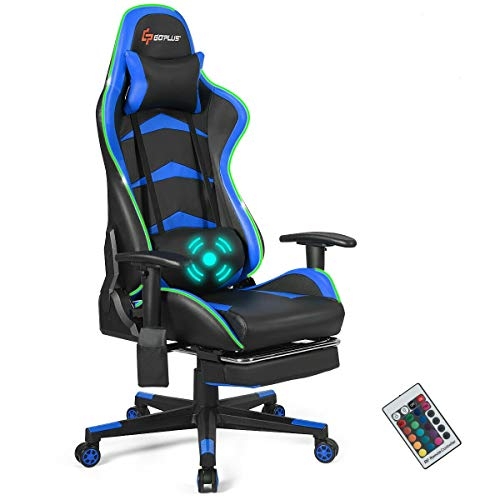 Goplus Massage Gaming Chair with LED Light, Reclining Backrest Handrails and Seat Height Adjustment Racing Computer Office Chair with Footrest, Ergonomic High Back PU Swivel Game Chair