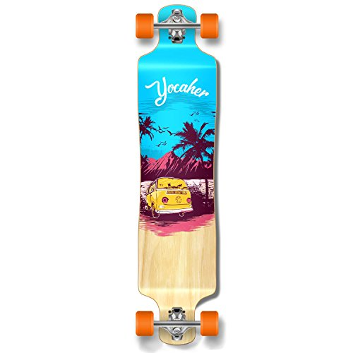 Yocaher Lowrider Drop Down Through Pro Complete Longboard Cruiser Freestyle Freeride Skateboard and Decks (Complete-VW-Blue N
