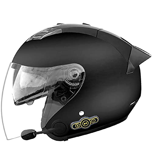 NZGMA Casco Moto aperto Bluetooth, Casco Moto Jet Vintage per Adulto con visiera 3/4 Mezzo Casco omologato Dot/ECE per ciclomotore ATV Rider Adventure Bike Cruiser E, XL = 61~62 cm