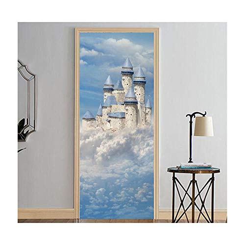 Fotobehang Europa Kasteel in Witte Wolken Foto Deur Sticker Wallpaper Decals Home Decoratie 77Cmx200Cm