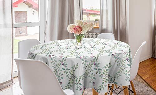 ABAKUHAUS Floral Mantel Redondo, Ramas Twiggy Rose, con Estampa Digital Lavable No Destiñe Durable y Resistente, 150 cm, Púrpura Gris Azul Gris