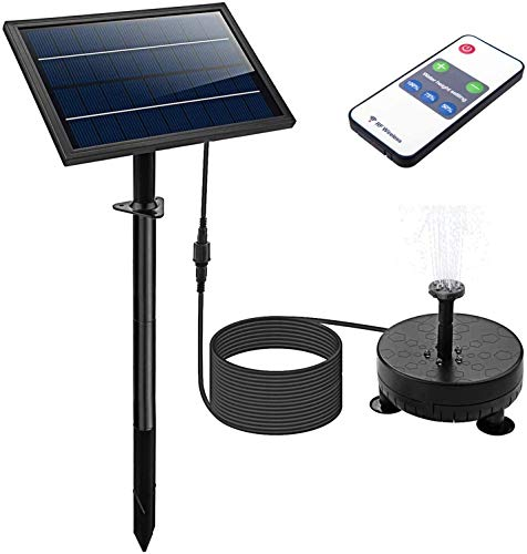 Solar Fountain Pump with Night Work&6 Nozzle,2400 MAh Fountains Pump with Colored Led Lights&Remote Control Control for Bird Bath, Outdoors,Ponds,Swimming Pools,Fish Tanks,Gardens (Black)