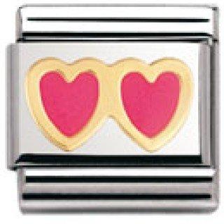 Nomination Composable Classic Love Edelstahl, Email und 18K-Gold (Doppeltes Herz ROSA/ROSA) 030207