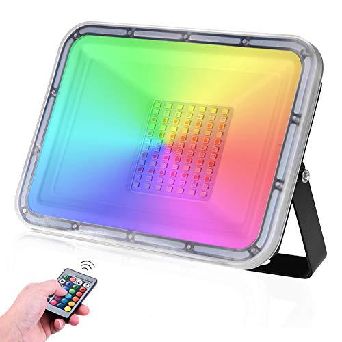 Faro LED RGB 50W Impermeabile IP67 Faretto LED da Esterno con telecomando 16 colori & 4 modalità 4500LM Cambia Colore luci di sicurezza per Festival musicale Giardino Festa (Nessuna memoria)