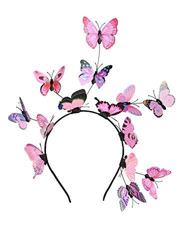 Butterfly Fascinator Hat Monarch Derby Headband Festival Crown Halloween Costume Bohemian Wedding Headpiece (B-Pink)
