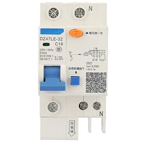Disyuntor de fuga a tierra de 230 V 30 mA Disyuntor de protección de 16 A Disyuntor de seguridad Disyuntor eléctrico para construcción de ingeniería(12A)