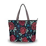 Bolso de hombro para mujer de seda romana de tela de poliéster de primera calidad bolsos de gran capacidad de trabajo de 16 pulgadas bolsa de viaje bolsa casual rojo oscuro bordado floral