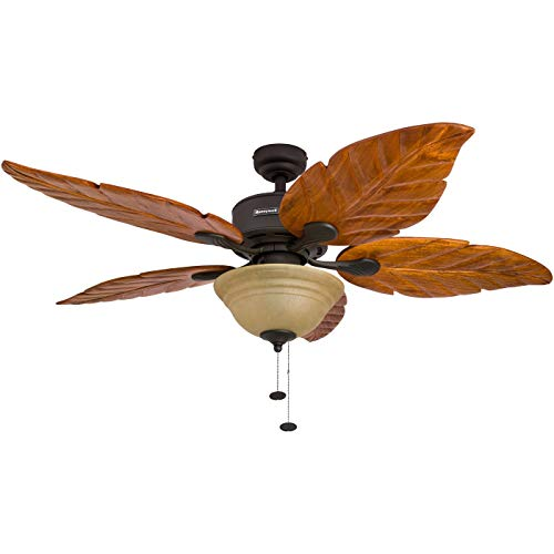 Honeywell Sabal Palm 52-Inch Tropical Ceiling Fan with Sunset Bowl Light, Five Hand Carved Wooden Leaf Blades, Lindenwood/Basswood, Bronze (Renewed)