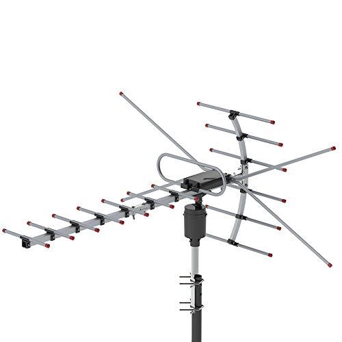 Goujxcy Antenna,TA-001 360°Rotation UV 45-230MHz/470-860MHz 15-22dB Outdoor Antenna,Black