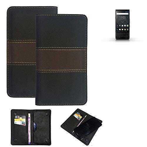 K-S-Trade® Handy Hülle Für BlackBerry KEYone Black Edition Schutzhülle Walletcase Bookstyle Tasche Schutz Case Handytasche Wallet Cover Kunstleder Snapcase Dunkelbraun, 1x