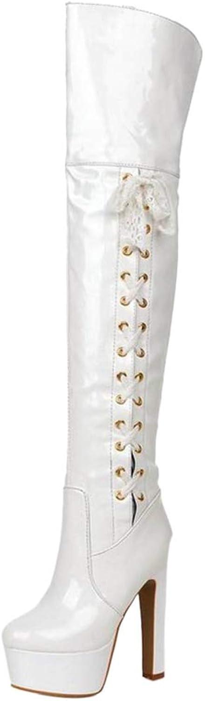 JOJONUNU Women Chunky Heel Thigh High Boots Zip