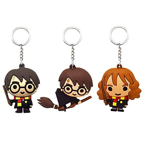 Babioms 3Pcs Portachiavi Harry Potter, Portachiavi Gioco Personaggio può Essere Appeso e Staccabile in lega Metallo Animazione Portachiavi