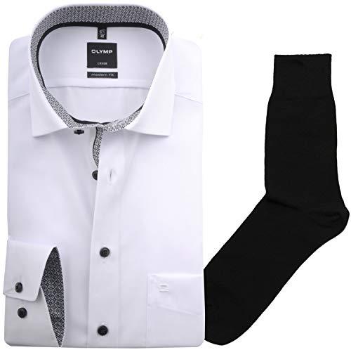 Hemd Olymp modern fit Global Kent, Uni, ELA + 1 Paar hochwertige Socken, B&le, Größe:46