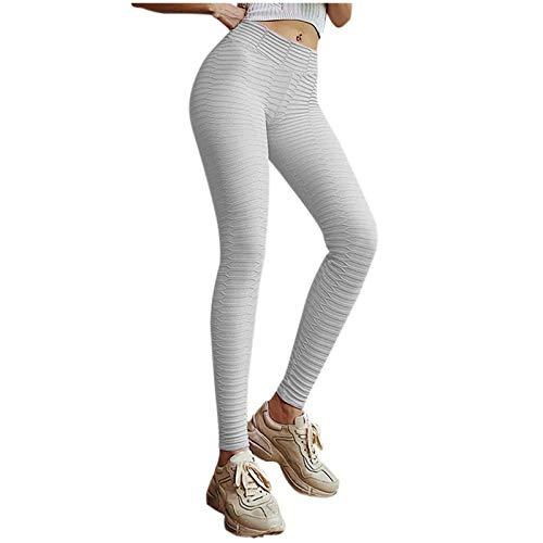 Xmiral Damen Gerafften Hintern Heben Hohe Taille Yoga-Hosen Bauch Kontrolle Dehnbare Workout Leggings Strukturierte Strumpfhose(b-Grau,M)