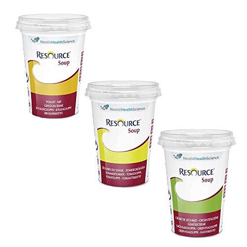 Nestle Trinknahrung Resource® Soup Mischkarton, Gemüse/Geflügel/Tomate, 200ml, 24 Stück