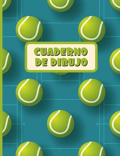 CUADERNO DE DIBUJO: Bloc de 100 paginas en blanco | Libreta infantil para dibujar | Regalo creativo para niños amantes de los deportes | Lindo diseño de tenis.