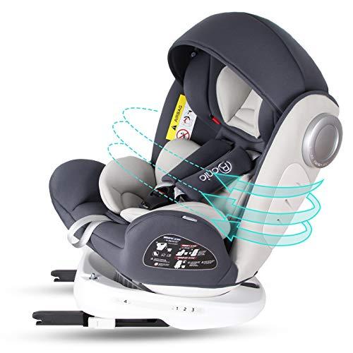 Bonio Kindersitz 360 ° Drehbar Autositz ISOFIX Gruppe 0+/1/2/3 (0-12 Jahre alt) 0-36kg mit Seitenschutz Grau