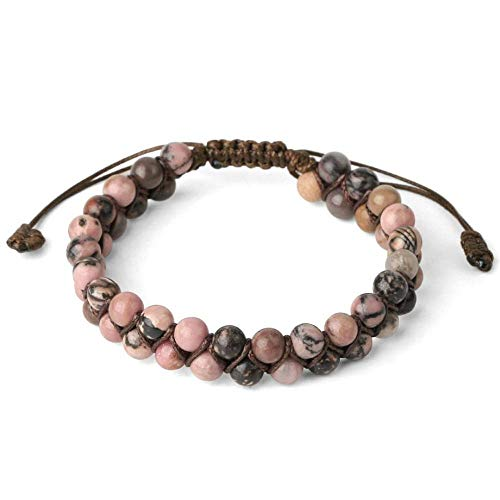 Stone Bracelet,Vintage Unisex 7 Chakra Natural Gem Adjustable Bangle Hand-Woven Double Layer Pink Line-Rhodonite Stone Beaded Bracelet Beaded Bracelets For Women Birthday Party Men Friend Gift