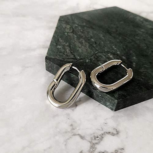 GSZPXF Los más vendidos Francesa Oro Chic o en Forma de aro Pendientes de Las Mujeres Gruesos Aros de latón geométrico Pendientes Minimalista (Color : Silver)