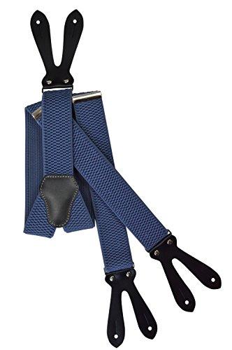 Olata Unisex Bretelle regolabili con Vera Pelle Asole, 4cm larghezza - Blu