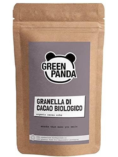 GREEN PANDA®️ Granella di cacao a base di fave di cacao senza zucchero   busta biodegradabile   Granella di cacao biologico ideale come guarnizione per porridge, muesli o cotto al forno   250 g