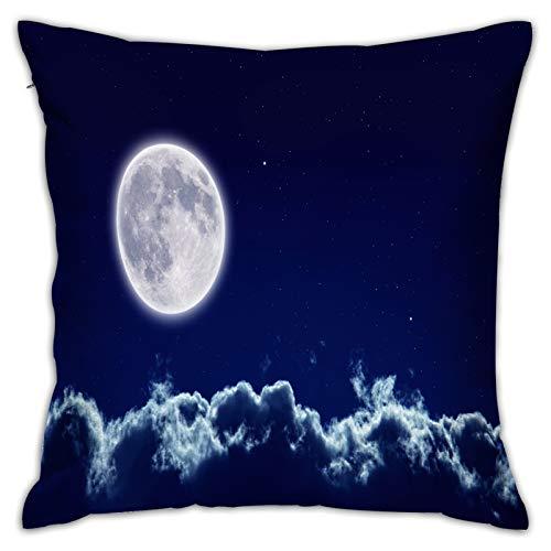 LINARUBE Funda de Cojín,Fondo pacífico Cielo Nocturno Luna Llena,Funda de Almohada Cuadrado para Sofá Coche Cama Sillas Decoración para Hogar(50 x 50cm)