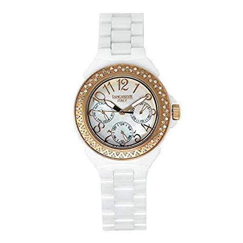 Lancaster Italia Orologio al Quarzo Collezione Diamanti Ceramica Bianco Madreperla IP Oro Rosa - OLA0649RG/BN