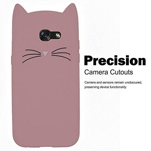 SevenPanda Silikon Schutzhülle Tasche für Samsung A3 2016, Samsung Galaxy A310 TPU Silikon 3D Cartoon Mode Cute Beard Schön Katze Weich Zurück Case Cover mit Anti-Kratzer Stoßdämpfende Bumper - Rosa
