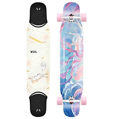 VOMI Longboard Principiantes con Truck de Aleación de Aluminio de Alta Resistencia, Monopatín Completo Skateboard de Arce + Bambú Patineta para Adolescentes Adultos Niños Profesionales, 114cm,A