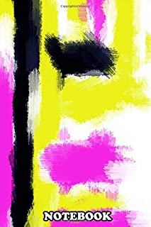 Notebook: Pink Yellow And Black Painting Abstract With White Back , Journal for Writing, College Ruled Size 6