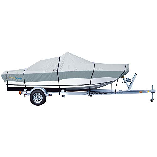 PrimeShield Boat Cover, Waterproof 600D Oxford Marine Grade Trailerable Runabout Boat Covers, Heavy Duty 13/15/16/17/18/19/20/21/22 ft fits V-Hull Pro-Style Bass Boats with Tightening Strap
