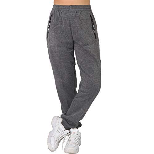 L.B Thermo Jogginghose Trainingshose Reißverschluss Sport Fitness Taschen SXR4952 (Hellgrau, XXXXL 48)