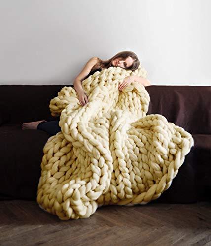 Knit Chunky Blanket Giant Throw Merino Wool Yarn Hand Made Bed Sofa Chair Mat(Beige 32'x40')