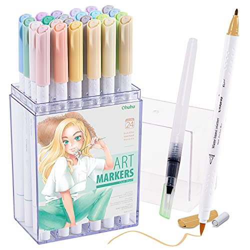 Ohuhu Dual Brush Pen Art Markers, Pastel, 24-Pack, Blendable, Brush and Fine Tip Markers Perfect for Planners, Journals, Doodling, Coloring, Calligraphy, Fine Art, Brush Lettering