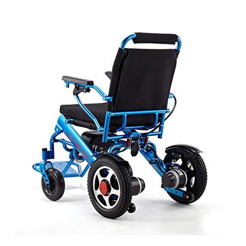 CPDZ Azul Silla de Ruedas eléctrica Ancianos Discapacitados Aleación de Aluminio Portátil Silla de Viaje Plegable Batería de Litio incorporada en el cinturón de Seguridad 15 km