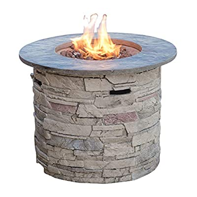 "Christopher Knight Home 296659 Rogers Propane Fire Pit Round 32"" Top-40,000 BTU, Round, Grey"