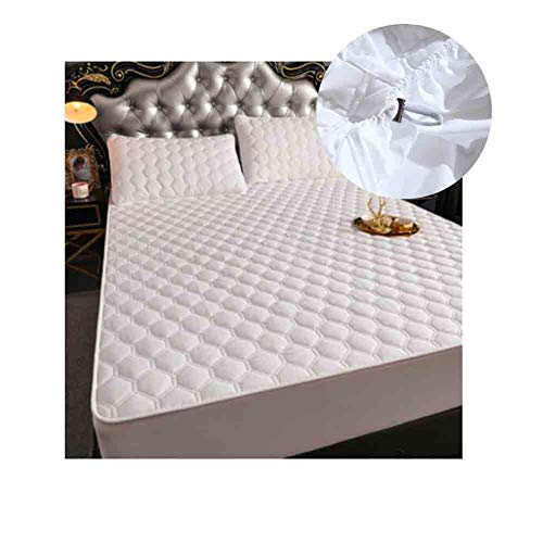 YCSD Quilted Mattress Protector Cover,Stretch Skirt Extra Deep (40cm),Soft, Wrinkle-resistant And Breathable(Color:White 2,Size:180x200cm)