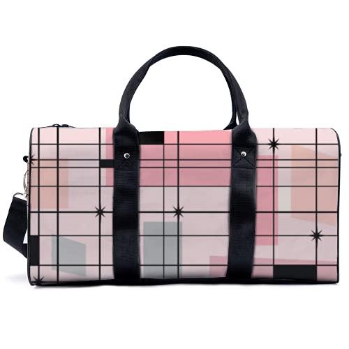 Bolsa de deporte para gimnasio, bolsa de deporte potable, diseño retro de rejilla rosa y Starbursts, bolso de yoga, bolsa de hombro, bolsa de viaje, bolsa de gran capacidad para hombres y mujeres