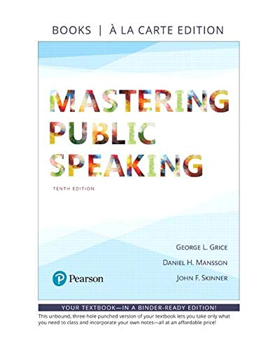 Mastering Public Speaking -- Loose-Leaf Edition (10th Edition)
