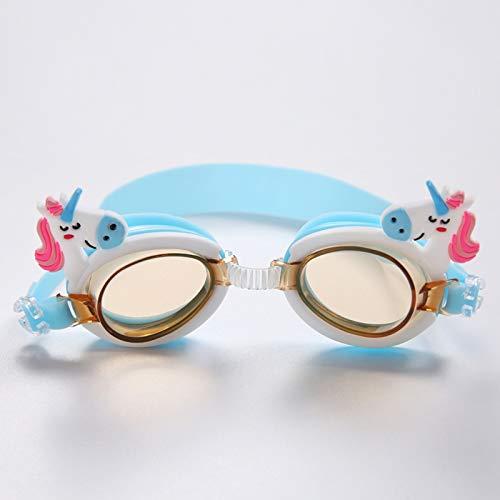 Gafas de natación para niños, antivaho y sin Fugas Gafas de natación para niños, Correa Ajustable, diseño de Puente Nasal Flexible, Gafas de natación de visión Amplia para niños